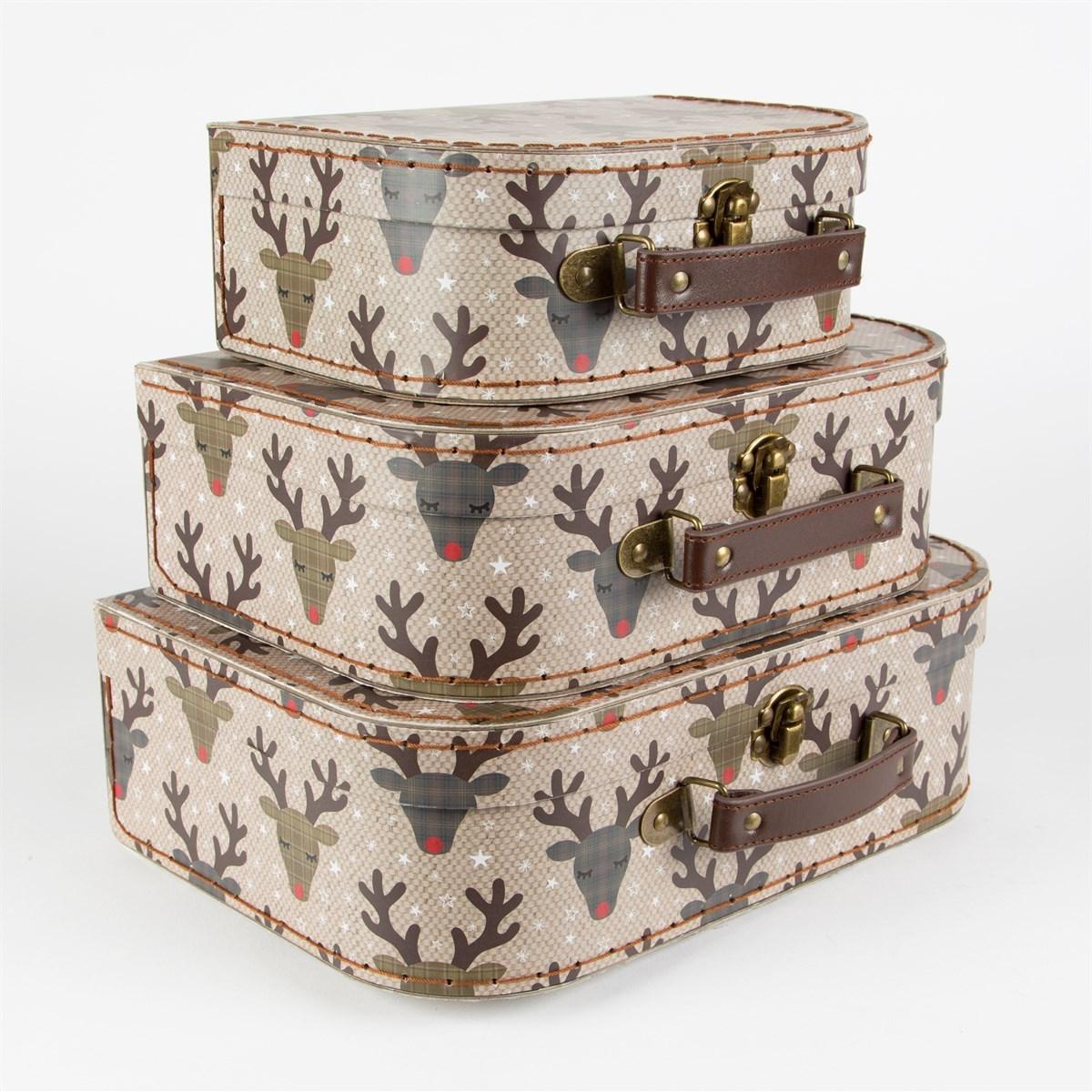 set of 3 rudi reindeer suitcases