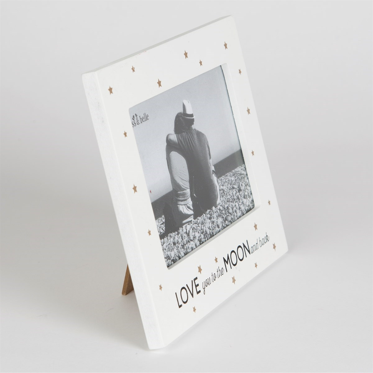 Love You To The Moon Back Golden Stars Photo Frame