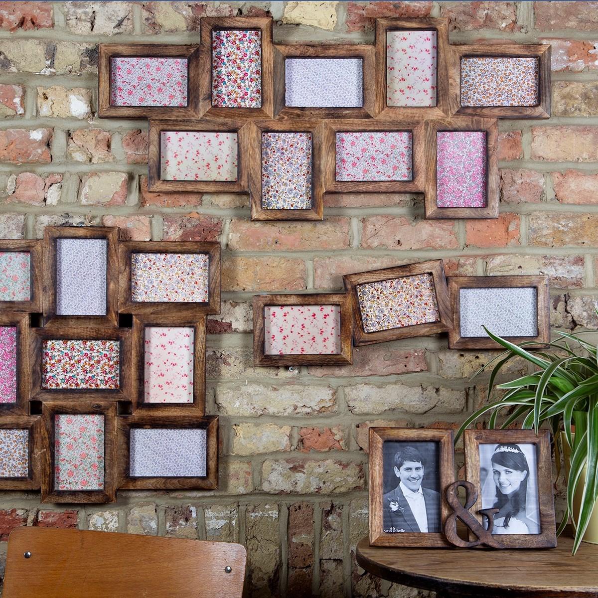 nine multi photo frame dark wood effect alternative image 1 - Multi Picture Frame