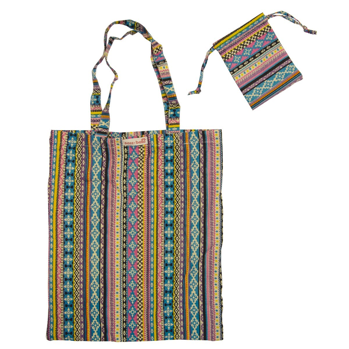 Sass /& Belle Fabric Foldable Shopping Bags rainbow design Tote Bag
