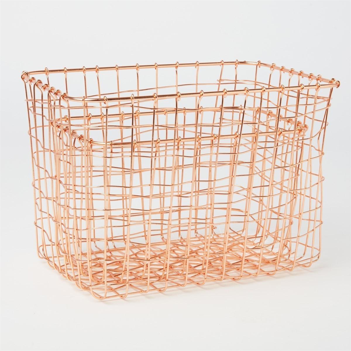 set of 2 copper wire mesh rectangular baskets alternative image 1