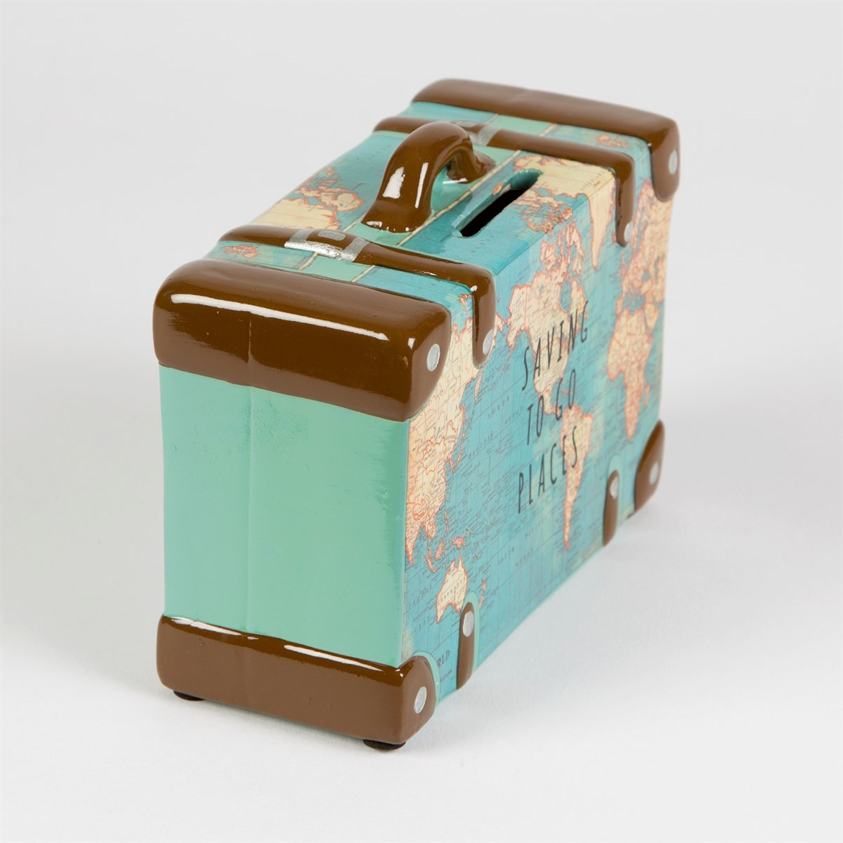 Saving to go places vintage map money box for Home money box