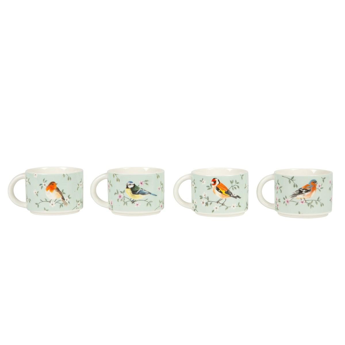 Set of 4 Garden Birds Stacking Mugs