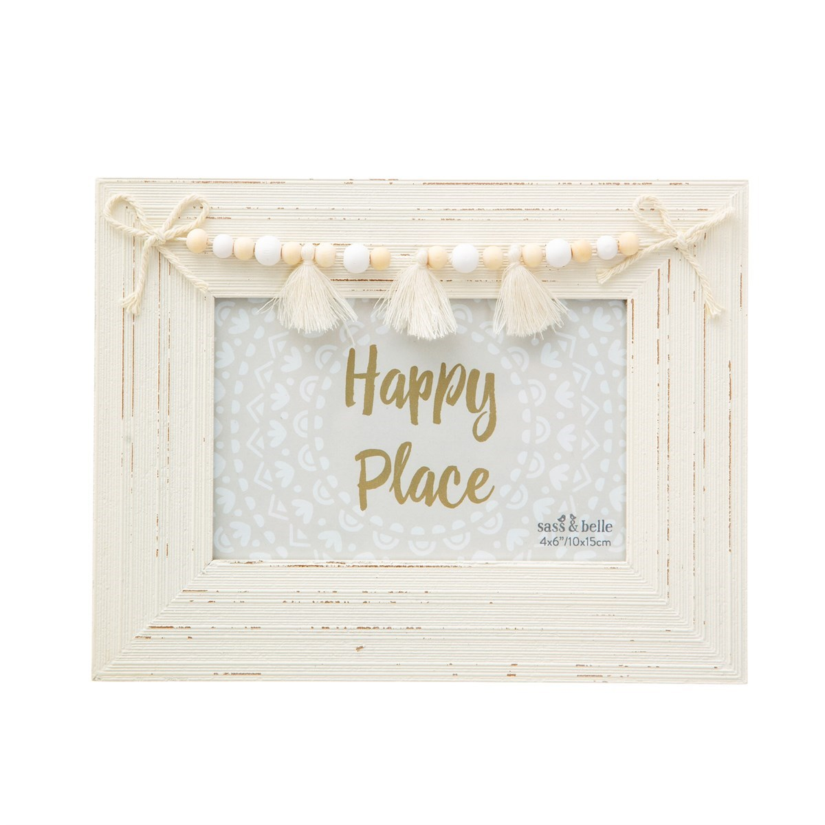 White /& Gold Wooden Box Picture Photo Frame 6 x 4 Decorative Washing Line Pegs