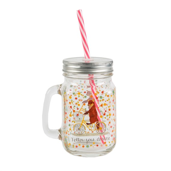 Fox Happy Animals Mason Drinking Jar