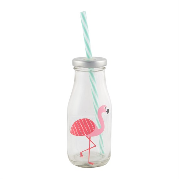 Tropical Flamingo Mini Milk Bottle with Straw