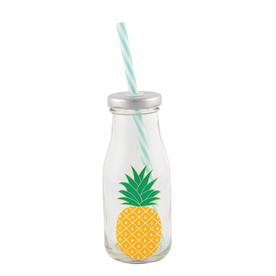 Tropical Pineapple Mini Milk Bottle with Straw
