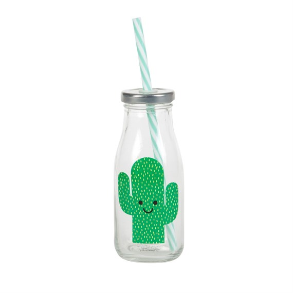 Happy Cactus Mini Milk Bottle with Straw