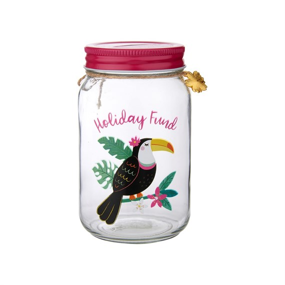 Tiki Toucan Holiday Fund Money Jar