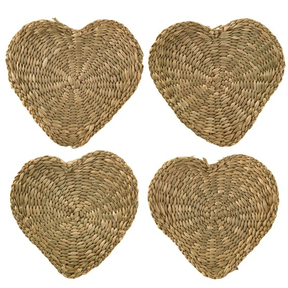 Heart Seagrass Coasters - Set of 4