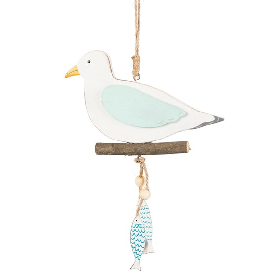 Seagull with Little Fish Nautical Hanging Decoration