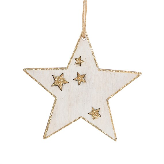 Rustic Wood White Star Hanging Decoration
