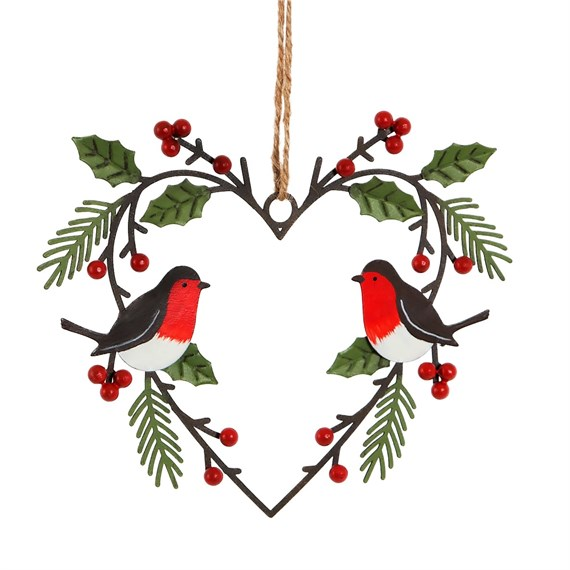 Heart Shaped Wreath with Robins Hanging Decoration Large