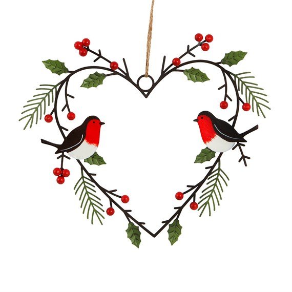Heart Shaped Wreath with Robins Hanging Decoration Small