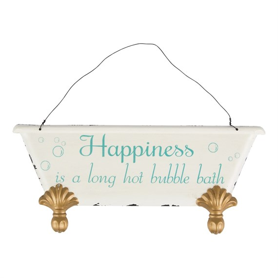 Happiness is Roll Top Bath Plaque