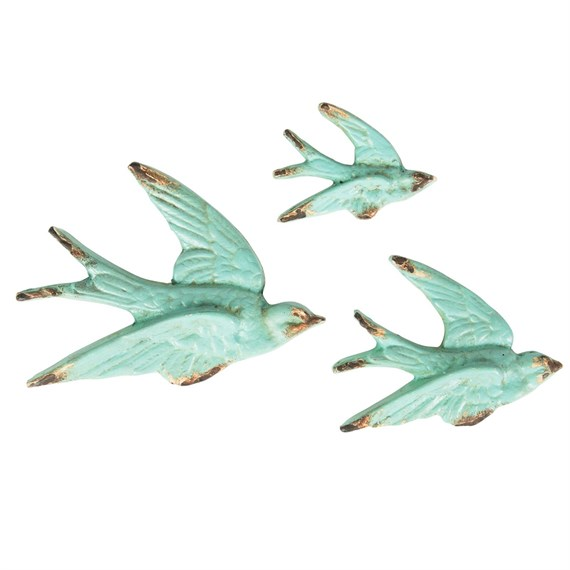 Set of 3 Flying Swallow Wall Decorations Vintage Duck Egg