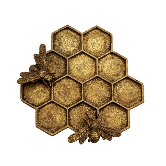 Gold Honey Bee Hive Jewellery Dish