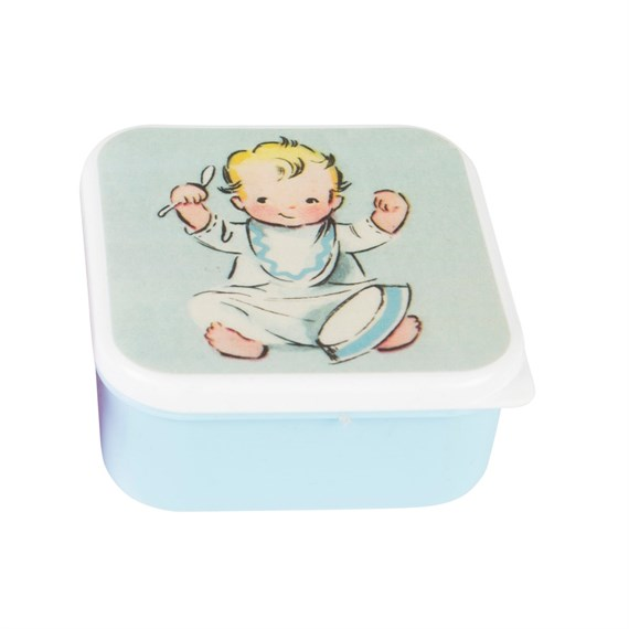 Blue Vintage Nursery Square Snack Box