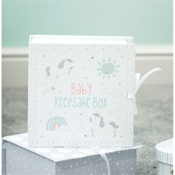 Baby Unicorn Keepsake Box with Drawers