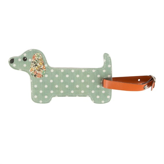 Green Floral Friends Dachshund Luggage Tag