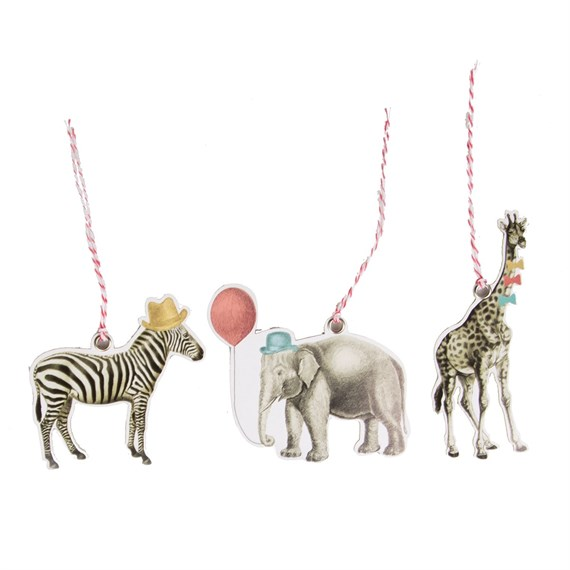 Set of 12 Party Safari Animals Gift Tags