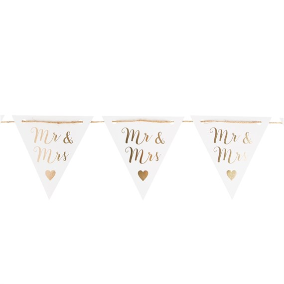 Mr & Mrs Gold Paper Bunting