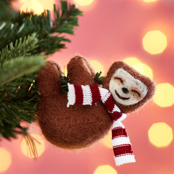 Swinging Sloth with Scarf Hanging Decoration