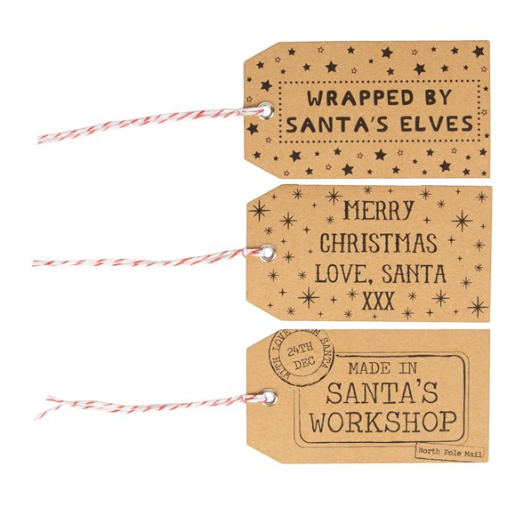 Set of 15 Brown Santas Workshop Gift Tags