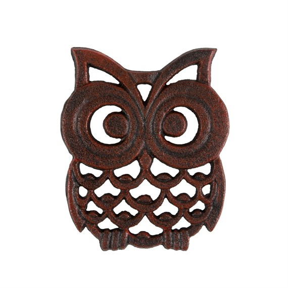 Small Owl Trivet Teapot Stand Black/Red