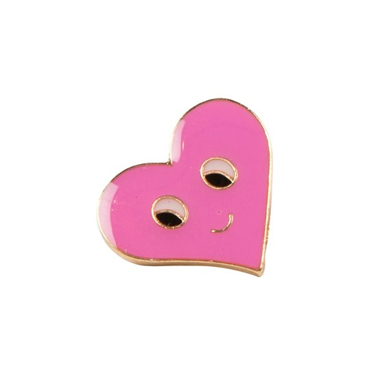 Pink Flirty Face Heart Pin Fashion Accessory