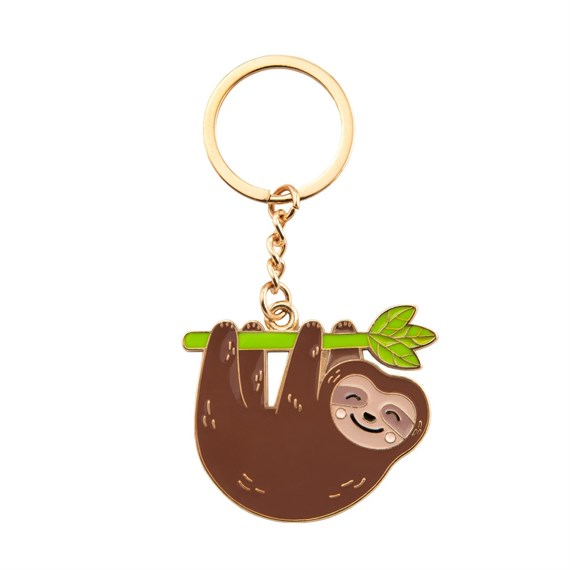 Happy Sloth Enamel Keyring