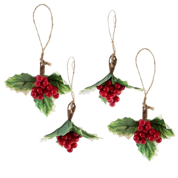 Red Berry Holly Sprig Hanging Decorations - Set of 4