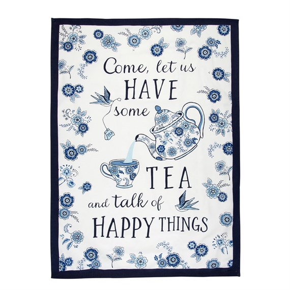 Blue Willow Floral Tea Towel