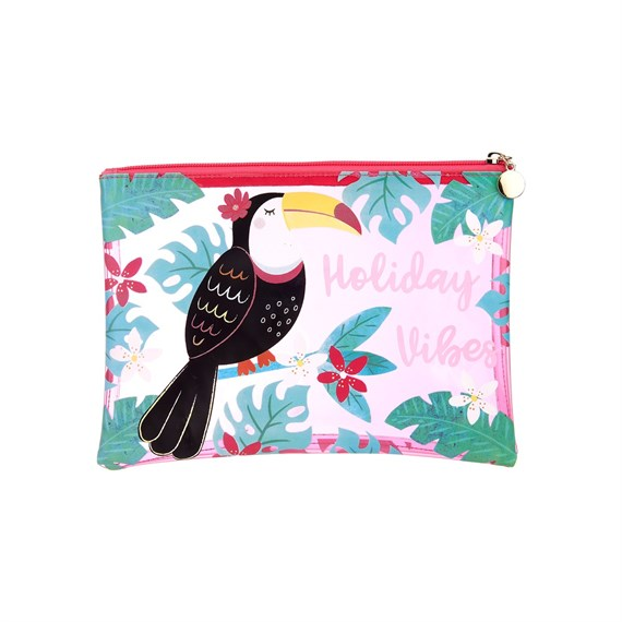 Tiki Toucan Holiday Vibes Pouch