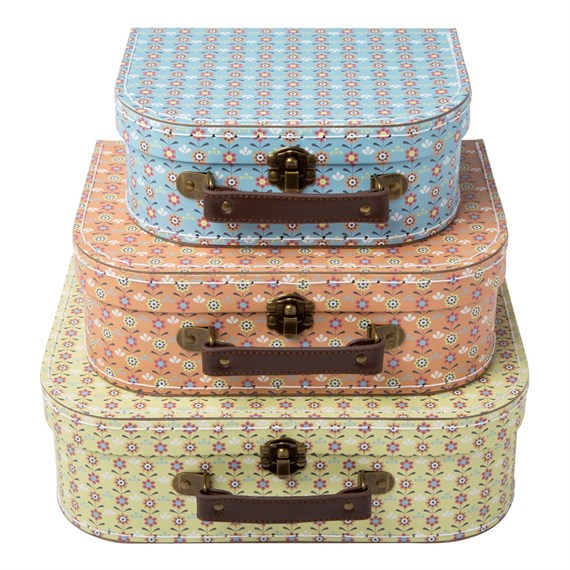 Set of 3 Summer Retro Daisy Suitcases