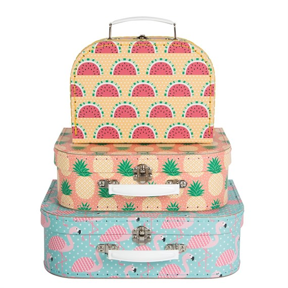 Tropical Summer Suitcases - Set of 3