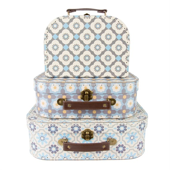Set of 3 Mediterranean Mosaic Suitcases