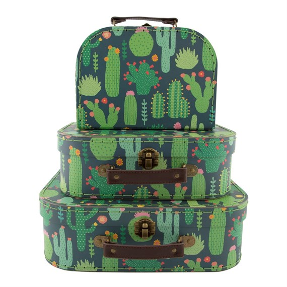 Colourful Cactus Suitcases - Set of 3