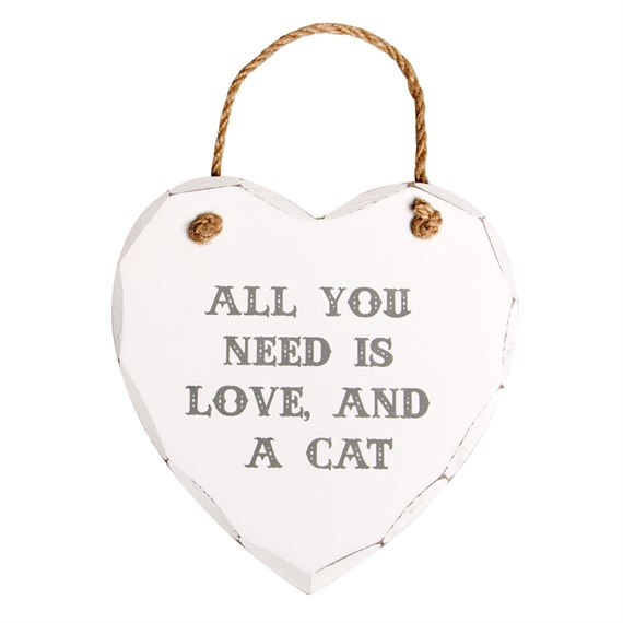 All You Need is Love & a Cat Heart Plaque