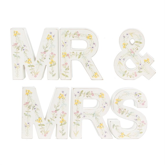 Wildflower Standing Mr & Mrs Letters