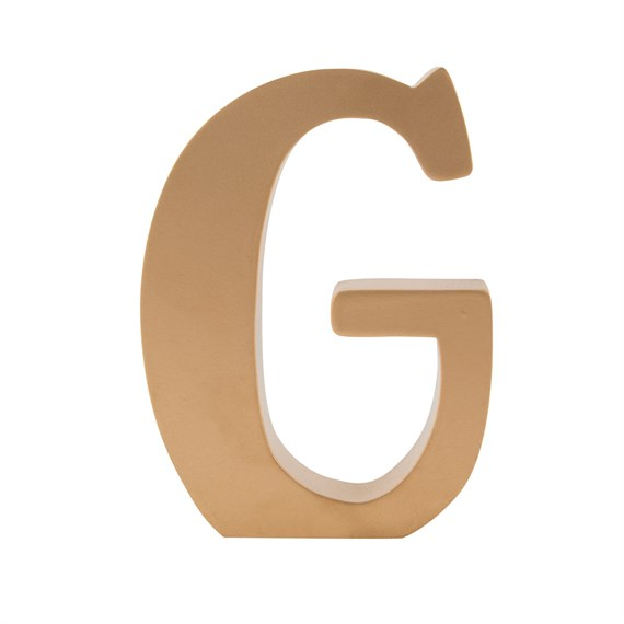 Gold Wooden Letter G Standing Decoration