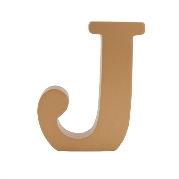 Gold Wooden Letter J Standing Decoration