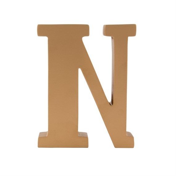 Gold Wooden Letter N Standing Decoration