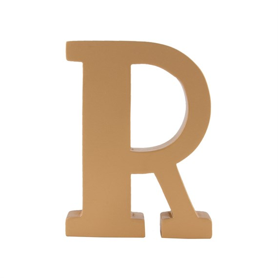 Gold Wooden Letter R Standing Decoration