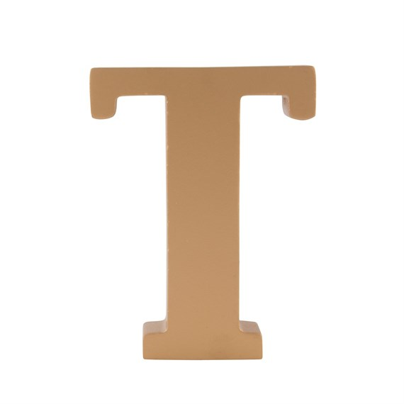 Gold Wooden Letter T Standing Decoration