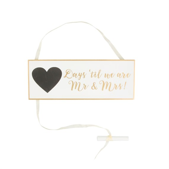 Gold & White Wedding Countdown Plaque