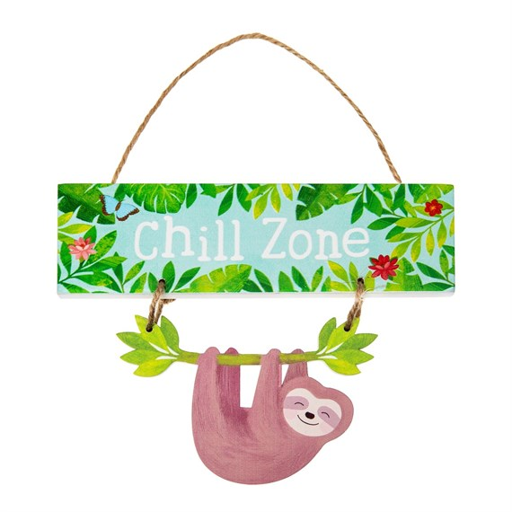 Sloth and Friends Chill Zone Hanging Plaque