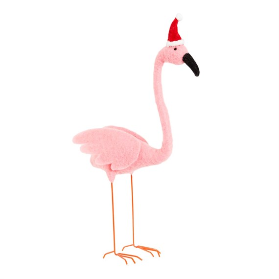Flamingo with Santa Hat Felt Standing Decoration