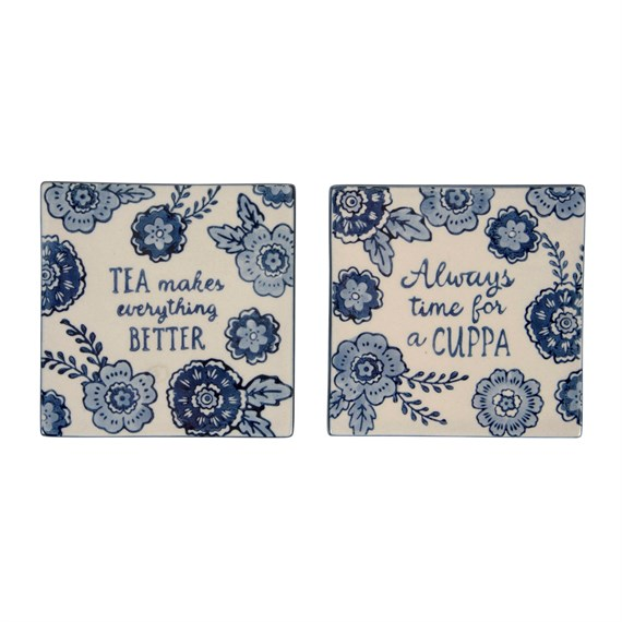 Blue Floral Tea Makes Everything Better Coasters - Set of 2