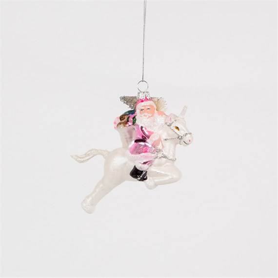 Santa on Unicorn Shaped Bauble